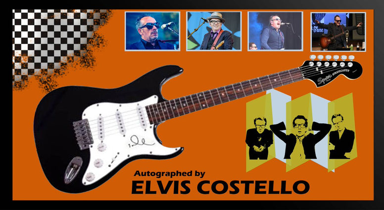 Elvis Costello Signed Guitar in Framed Case