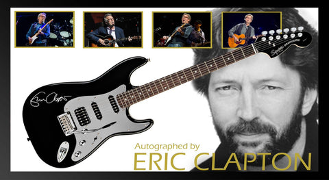 Eric Clapton Signed Guitar in Framed Case