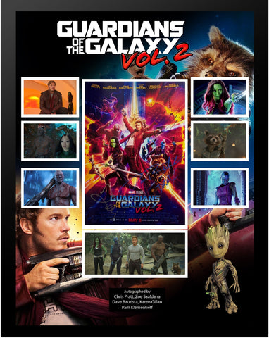 Guardians of the Galaxy - Cast Signed Collage Poster Framed + COA