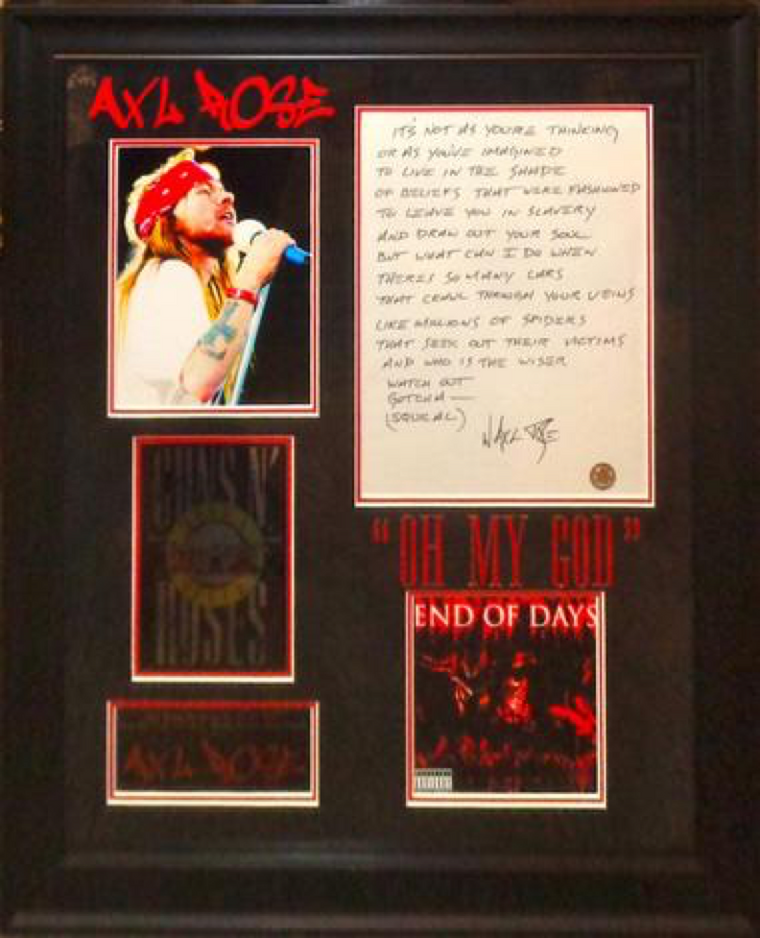 Axl Rose Handwritten Lyrics