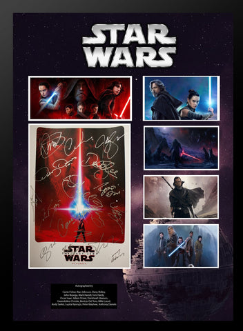 Star Wars - The Last Jedi - Cast Signed Collage Poster Framed + COA