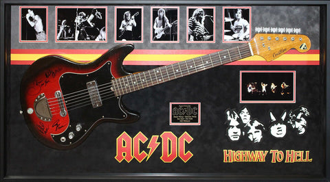 AC/DC Band Signed Guitar (with Bon Scott) Highway to Hell Custom Framed