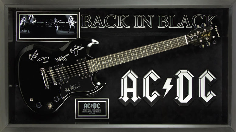 AC/DC Signed Guitar - Back in Black Custom Framed