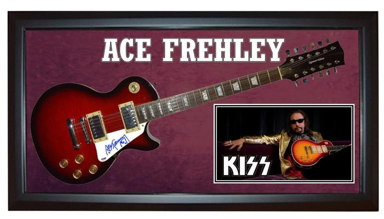 Ace Frehley Signed Guitar in Custom Framed Case with PSA/DNA COA
