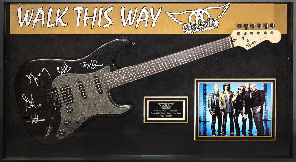 "Aerosmith Band ""Walk This Way"" Signed Guitar in Framed Case"
