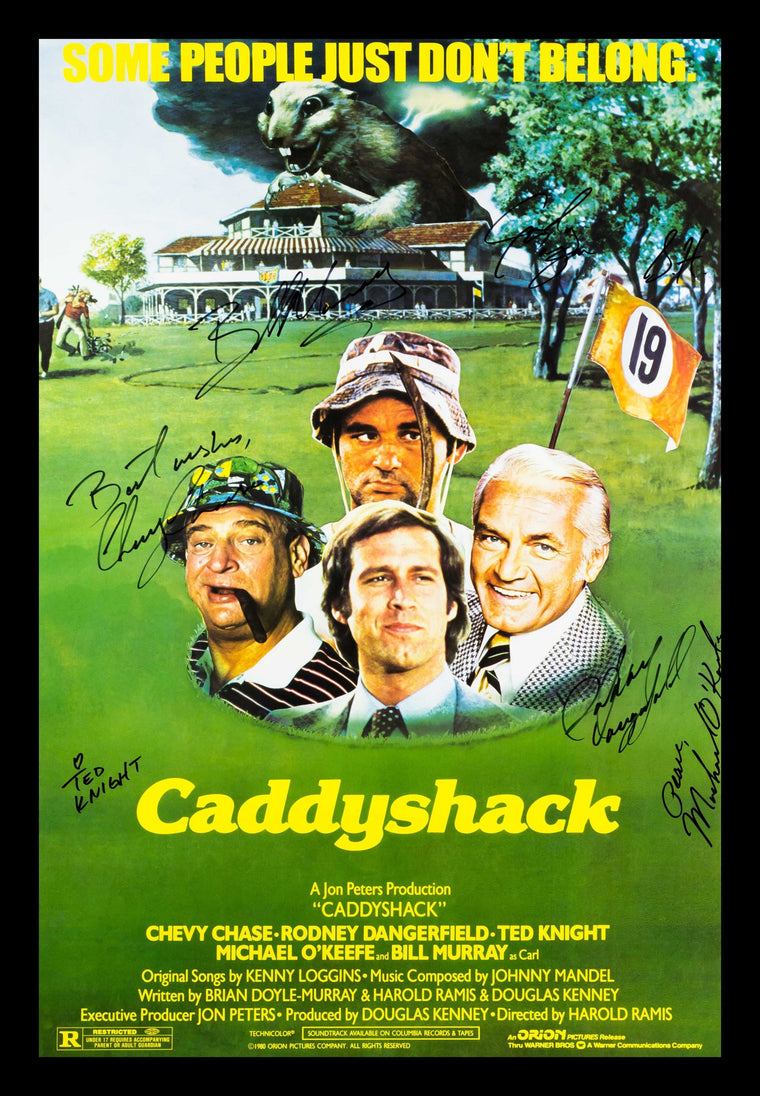 Caddyshack Cast Signed 27x41 Movie Poster in Wood Frame with COA