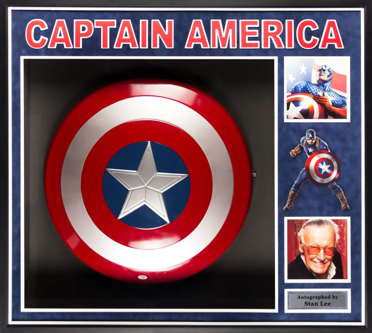 Captain America - Stan Lee Signed Shield Collage Poster 37x41 PSA/DNA