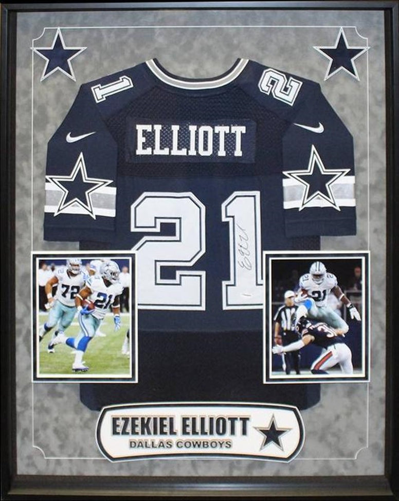 Ezekiel Elliott Dallas Cowboys NFL Signed Football Jersey Custom Framed