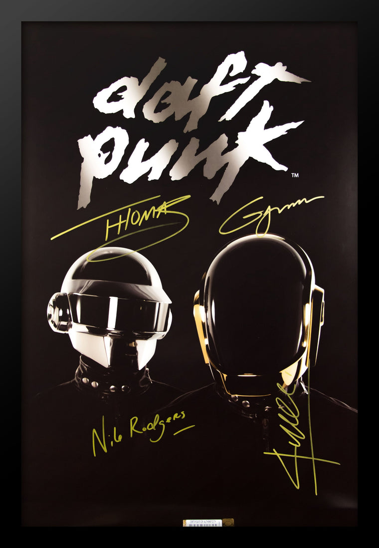 Daft Punk Signed Poster Wood Framed with COA