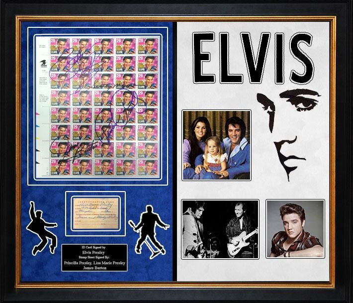 Elvis Presley Signed Luggage Tag With Signed Stamp Sheet - LuxeWest