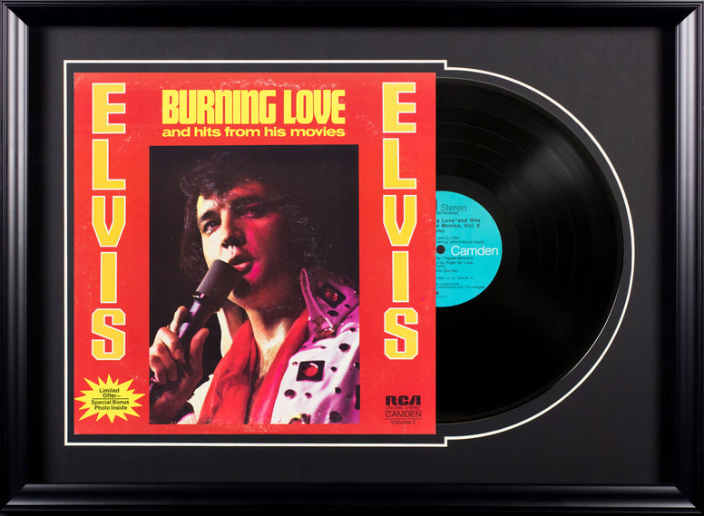 Elvis Presley Burning Love & Hits From His Movies Vintage Album Deluxe Framed
