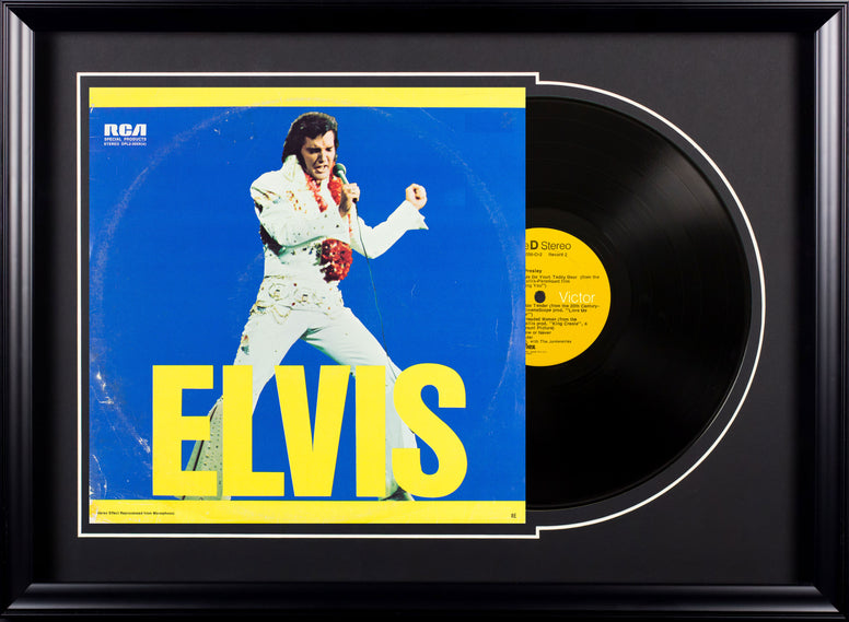 Elvis Presley Elvis (blue and yellow) Vintage Album Deluxe Framed