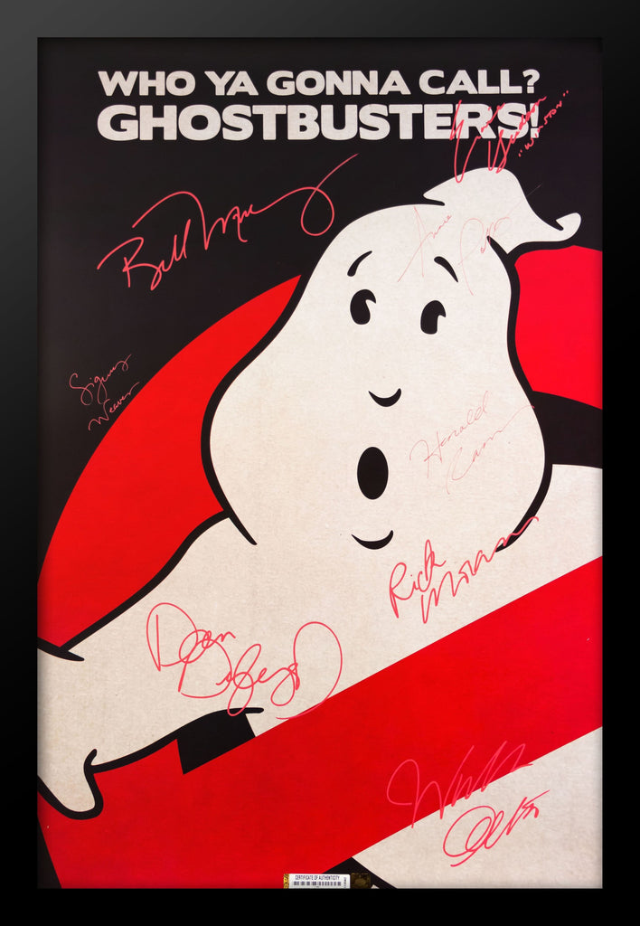 Ghostbusters Cast Signed Movie Poster in Framed Case
