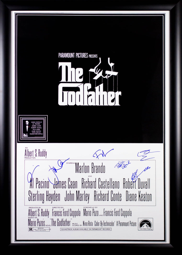 The Godfather - Signed Movie Poster 27x41 in Wood Frame with COA