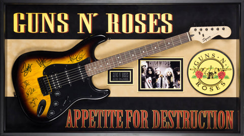 Guns n' Roses Signed Guitar Appetite for Destruction Custom Framed
