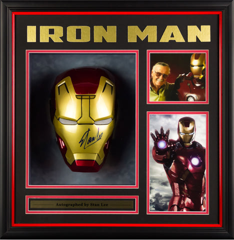 Iron Man Mask Signed by Stan Lee - Custom Framed