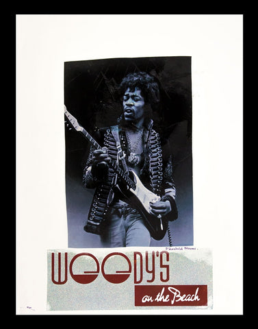 Jimi Hendrix Woody's on the Beach Advertising Poster by Fairchild Paris