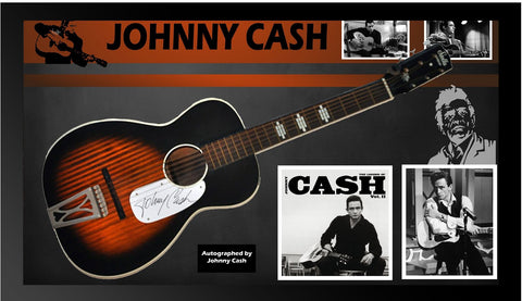 Johnny Cash - Signed Acoustic Guitar Custom Framed