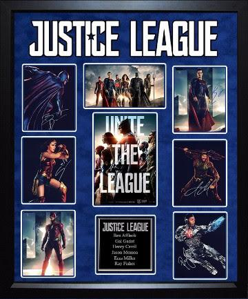 Justice League - Cast Signed Movie Photo Collage - Framed Artist Series