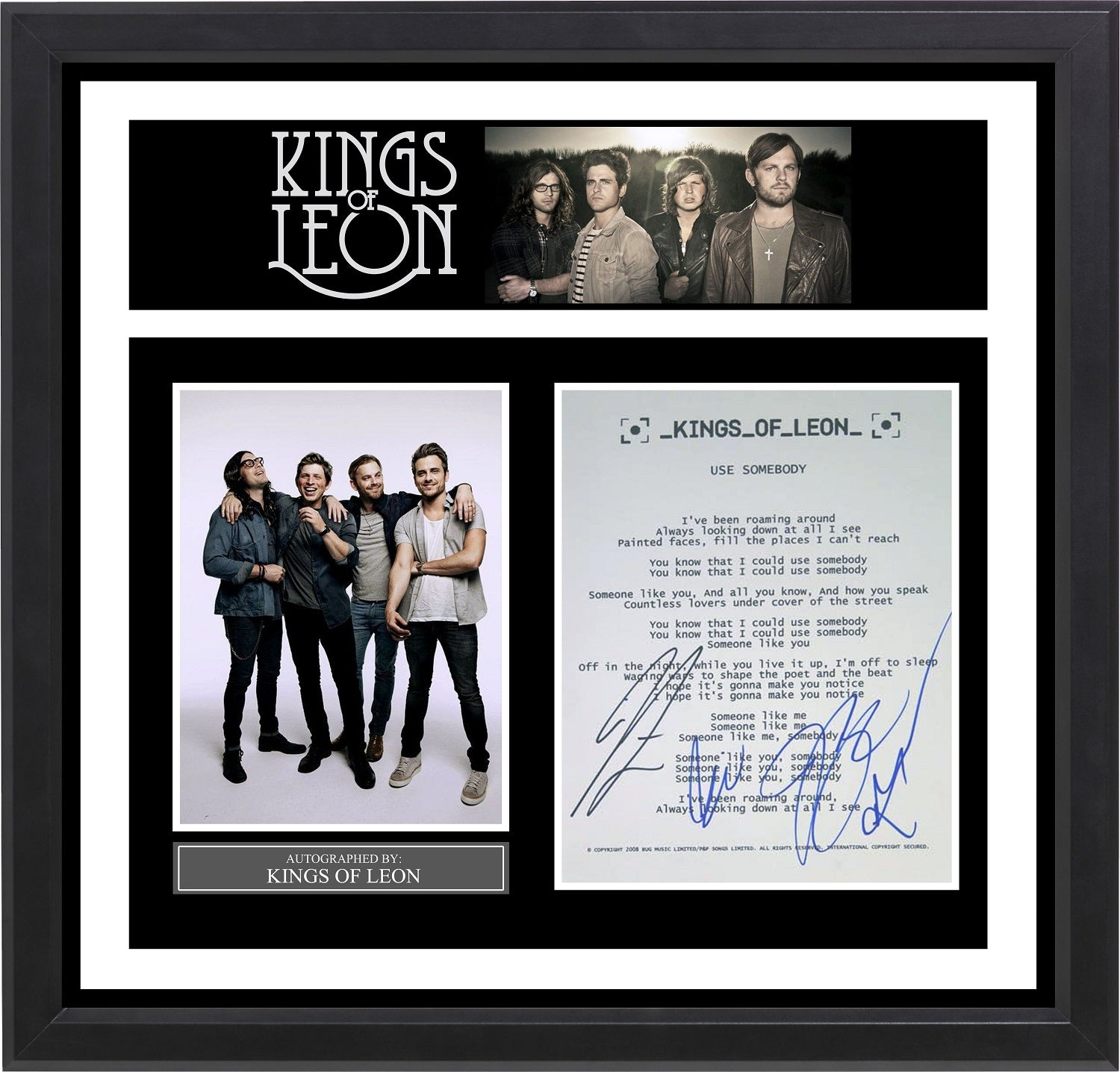 Kings of Leon - Signed Music Lyrics in Photo Collage Frame – Front ...
