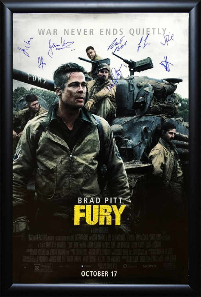 Fury - Signed Movie Poster in Wood Frame with COA