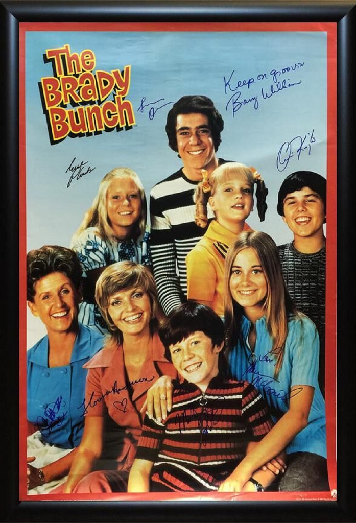 The Brady Bunch - Signed TV Show Poster in Wood Frame with COA