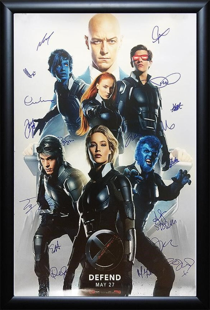 X-Men Apocalypse - Signed by Cast Movie Poster Wood Framed
