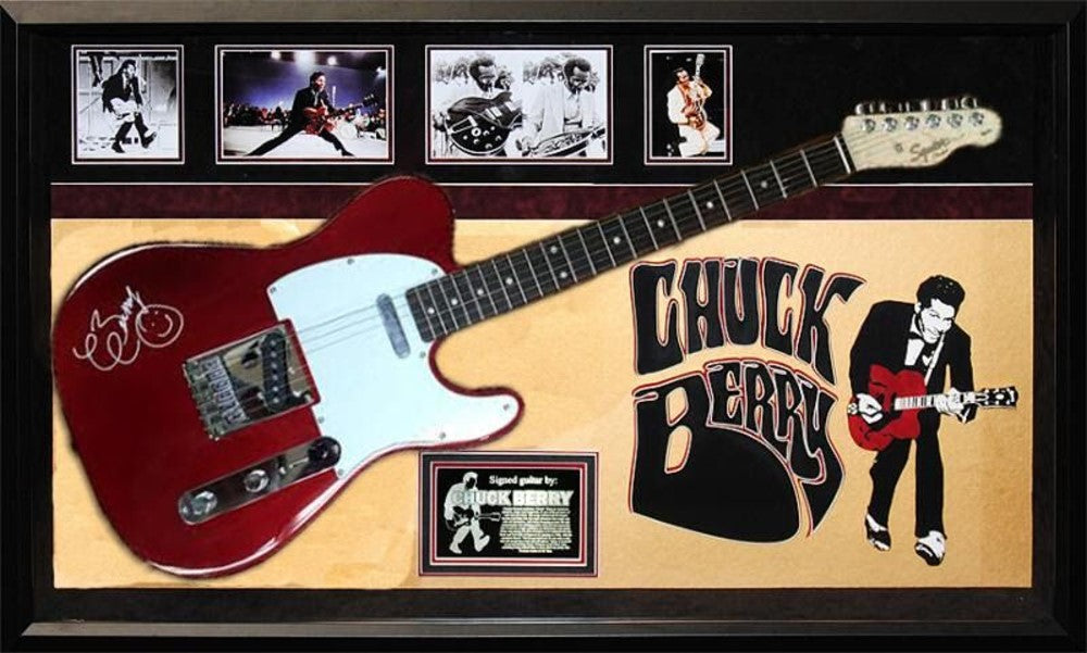 Chuck Berry Autographed Signed Guitar in Custom Framed Case