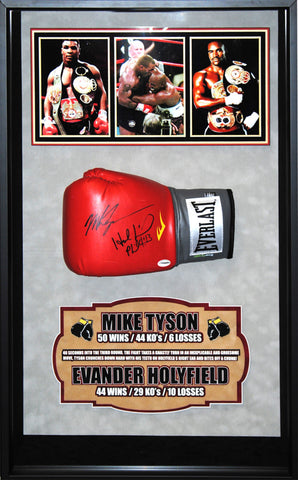 Evander Holyfield Mike Tyson Signed Boxing Glove Framed Collage