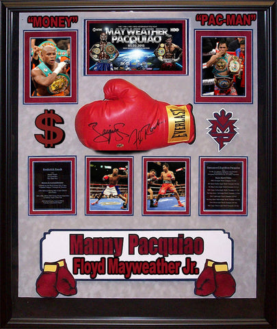 Manny Pacquio Floyd Mayweather Jr. Signed Boxing Glove - Framed Collage