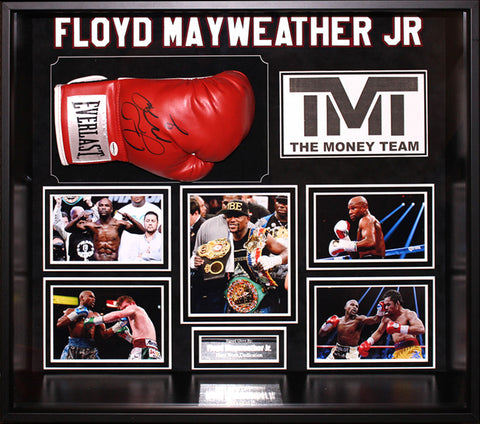 Floyd Mayweather Jr. Signed Boxing Glove Framed Collage