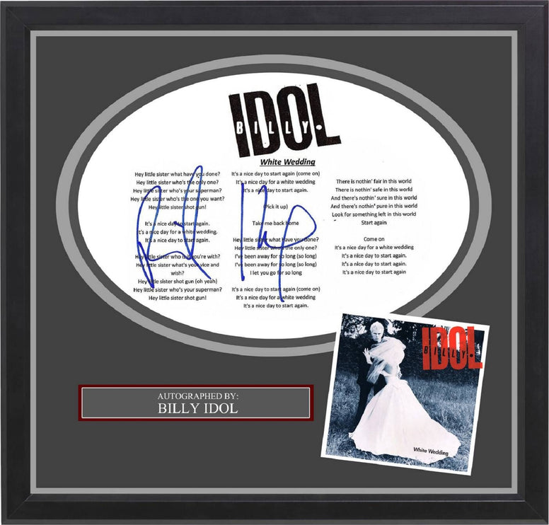Billy Idol - Signed Music Lyrics in Photo Collage Frame