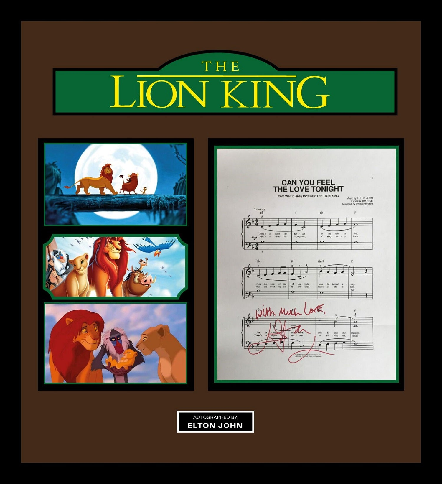 The Lion King Signed Music Lyrics In Photo Collage Frame Front