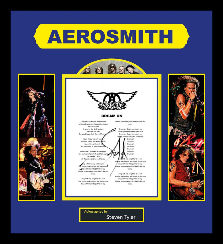Aerosmith- Signed Music Lyrics in Photo Collage Frame