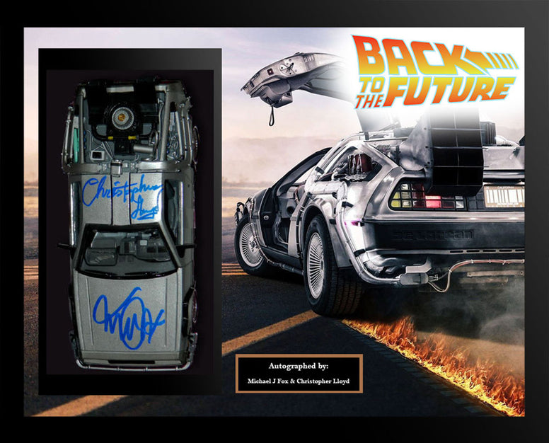 Delorean Back to the Future - Signed by Michael J. Fox and Christopher Lloyd