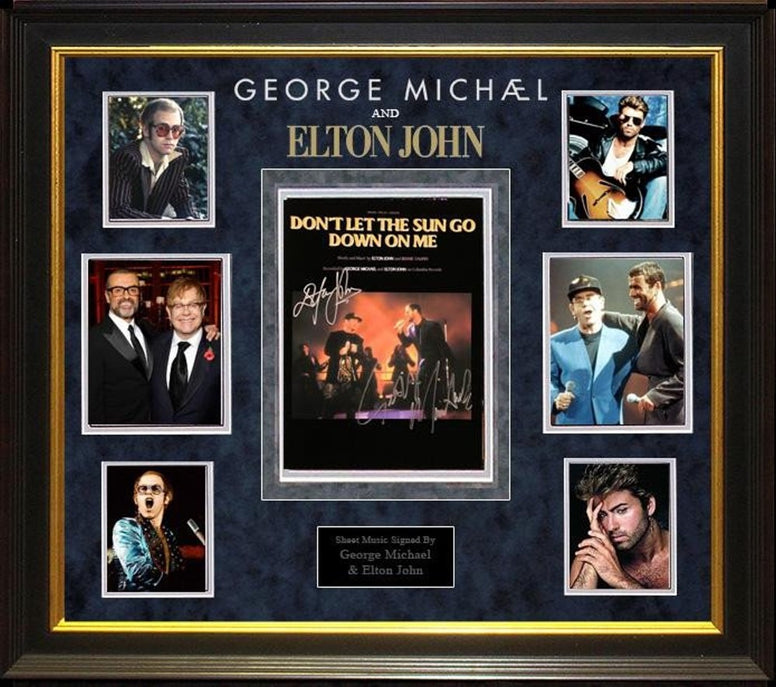 "George Michael & Elton John Signed ""Don't let the sun go down on me"" Sheet Music"