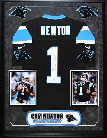 Cam Newton Carolina Panthers NFL Signed Football Jersey Custom Framed