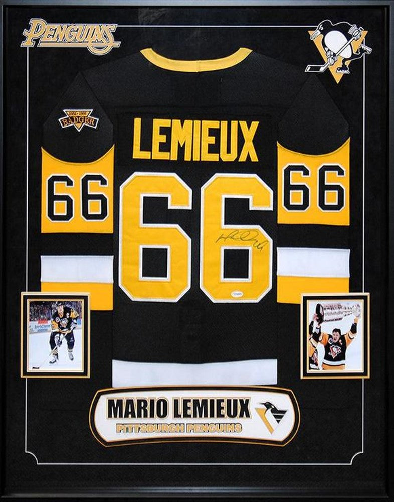 Mario Lemieux Pittsburgh Penguins NHL Signed Hockey Jersey Custom Framed 0a8f18d27ca