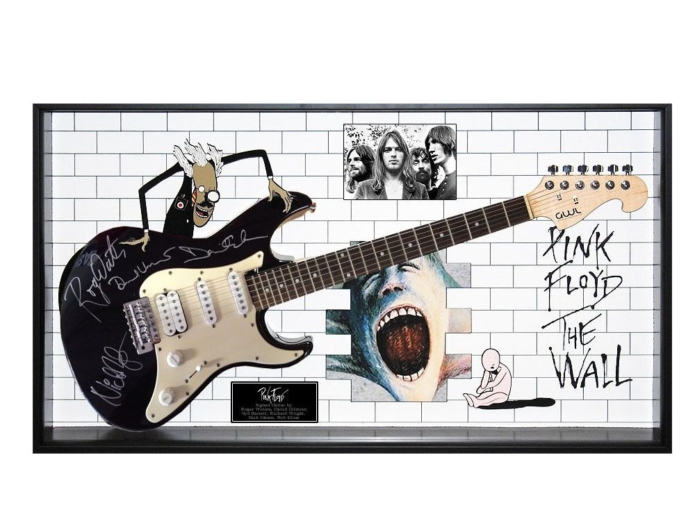 Pink Floyd Signed Guitar - The Wall Custom Wood Framed