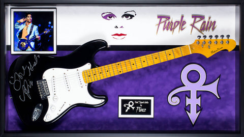 Prince Purple Rain Signed Guitar Custom Framed