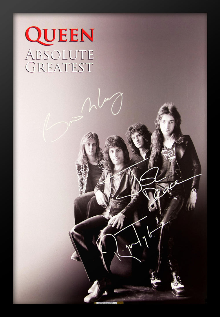 Queen 'Absolute Greatness' Signed Poster Wood Framed with COA