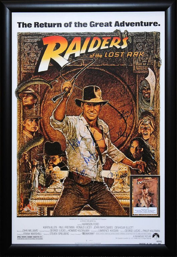 Indiana Jones and the Raiders of the Lost Ark - Signed Movie Poster Framed