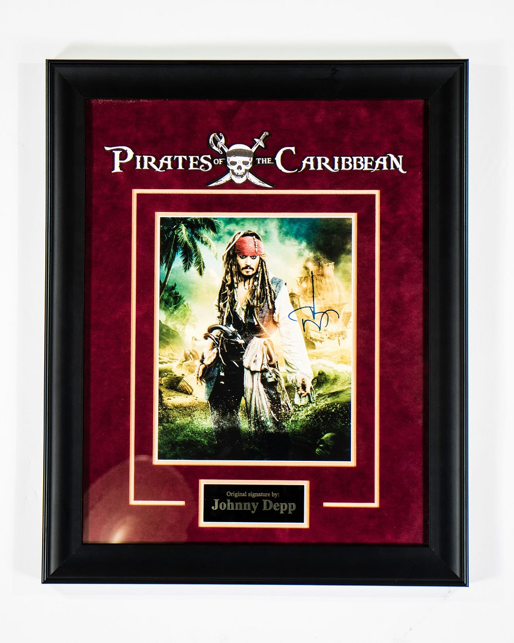 Pirates Of The Caribbean Signed By Johnny Depp Framed Artist