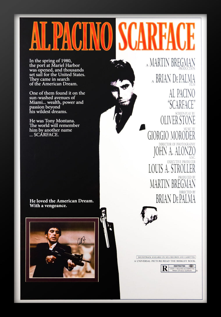 Scarface - Movie Poster with Signed Photo by Al Pacino