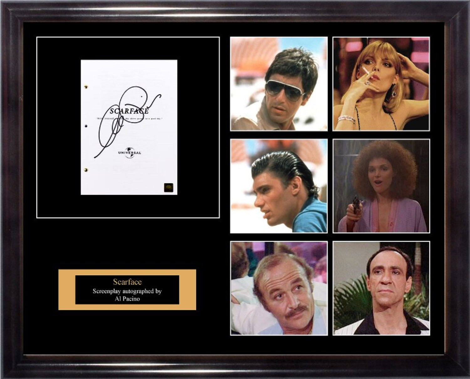 Scarface Signed Movie Script In Photo Collage Frame Front Row