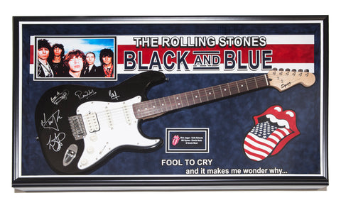 Rolling Stones Signed Guitar Black and Blue - Fool to Cry Custom Framed