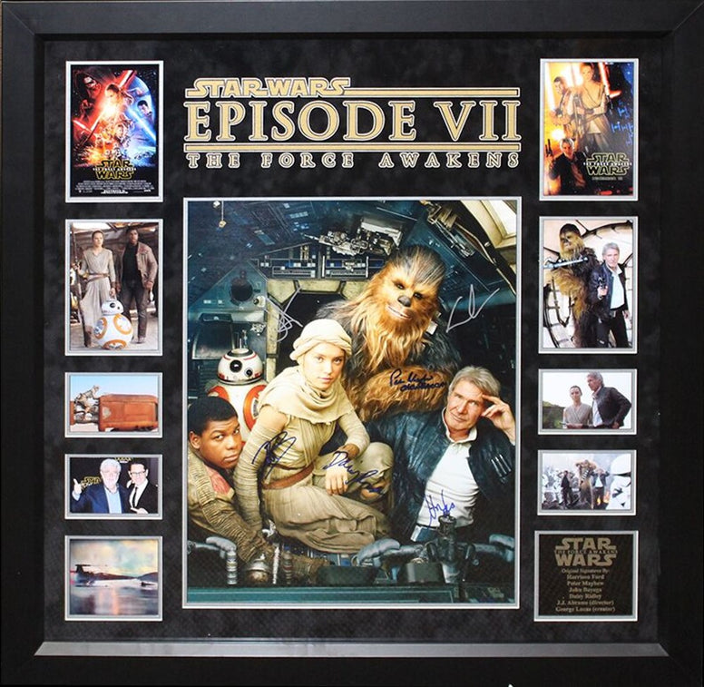 Star Wars - The Force Awakens Signed by Cast Movie Photos Collage in Framed Case