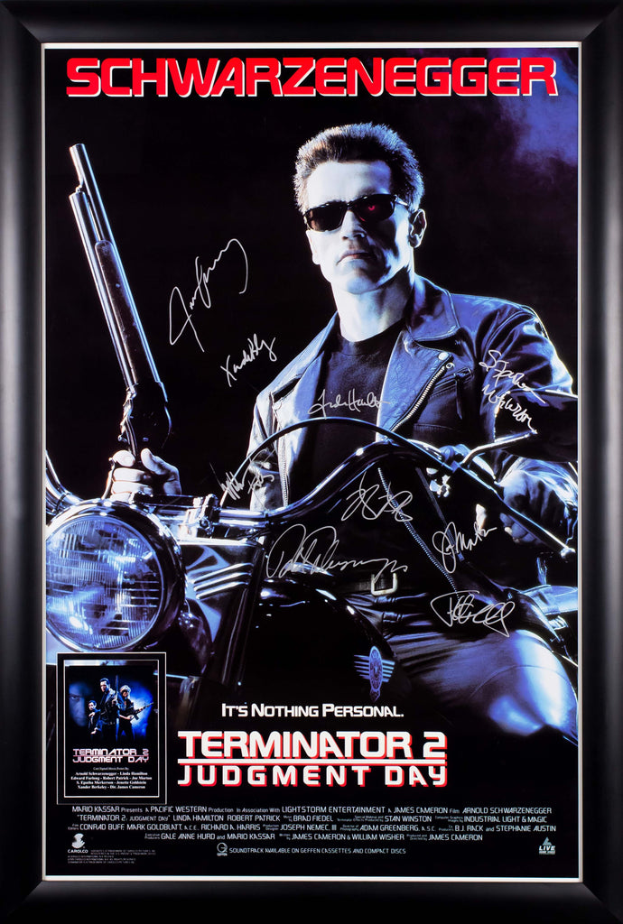Terminator 2 Judgment Day - Cast Signed Movie Poster 27x41 in Wood Frame with COA