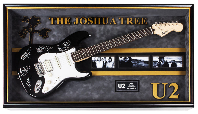 U2 Signed Guitar The Joshua Tree Custom Framed