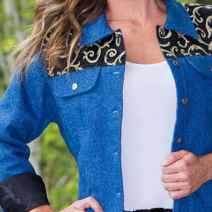 Whistle River Ladies Denim Jacket with Black Scroll Yoke